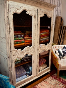 Vintage Whitewashed Cupboard with Chicken Wire