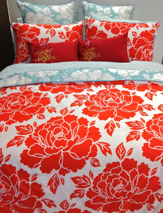 Red Floral Aura Bedspread