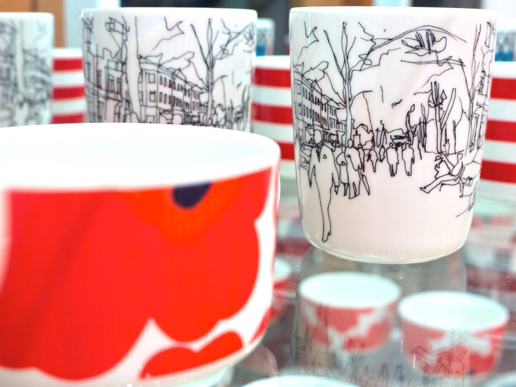 Red and White Marimekko Mugs