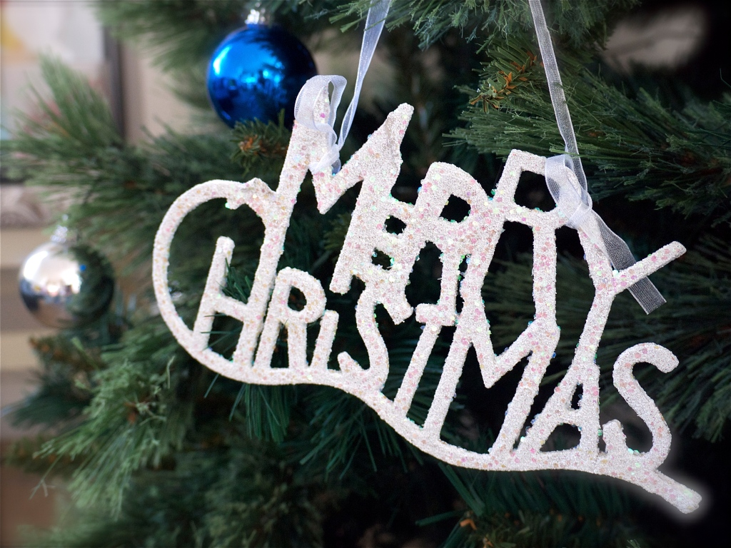 Christmas Tree White Merry Christmas Ornament