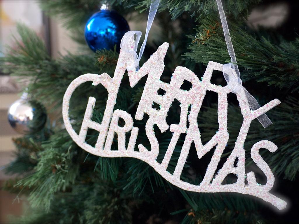 Christmas Tree White Merry Christmas Ornament