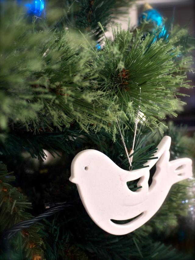 Christmas Tree White Dove Ornament