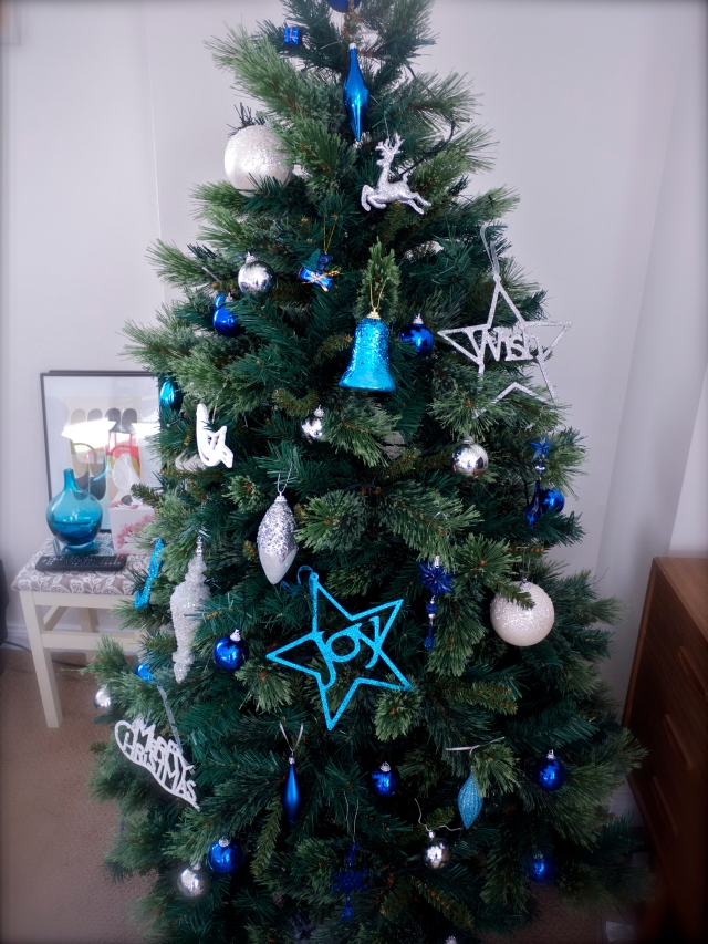 Christmas Tree with Blue, White, Grey and Silver Theme