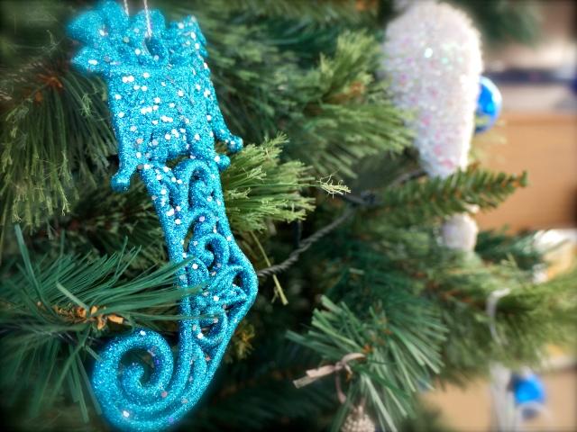Christmas Tree Blue Stocking Ornament