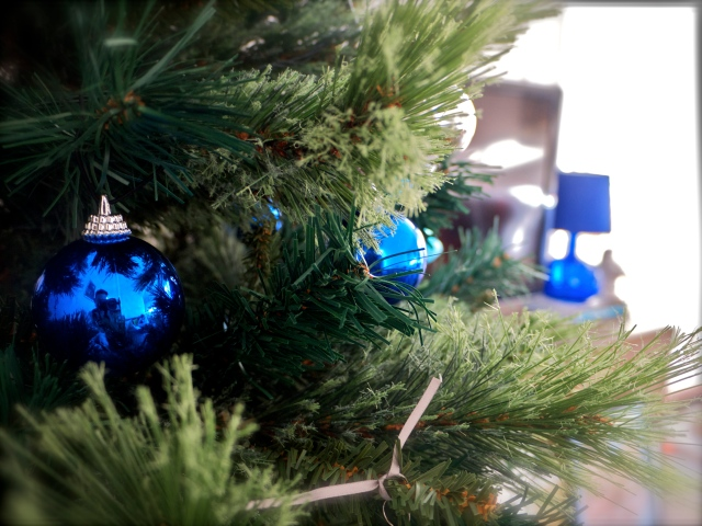 Christmas Tree Blue Baubles and Lamp