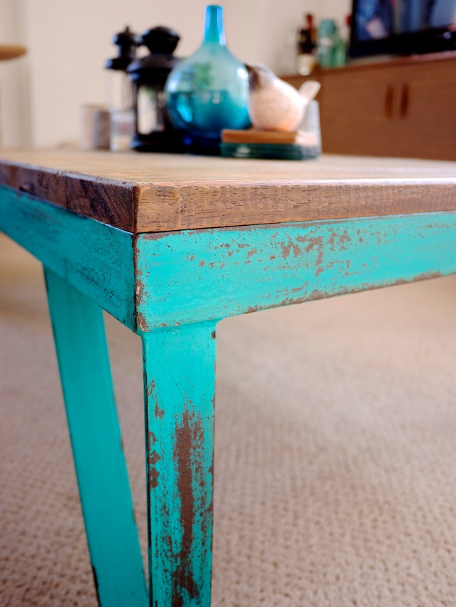 Industrial Coffee Table with Teal Legs