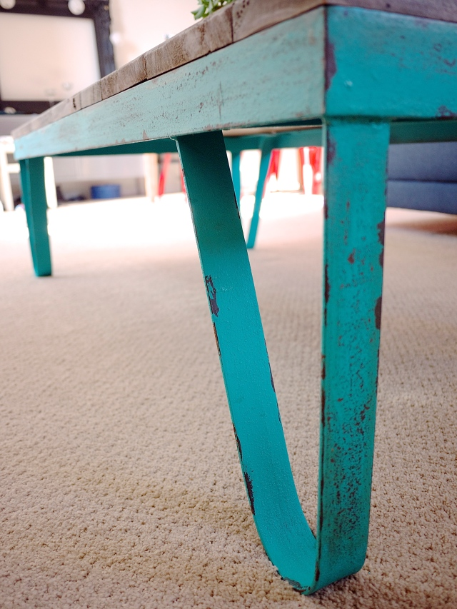Industrial Coffee Table with Rounded Teal Legs