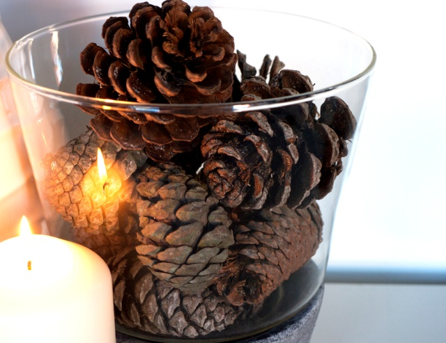 Pine Cones in Glass Bowl with Candle