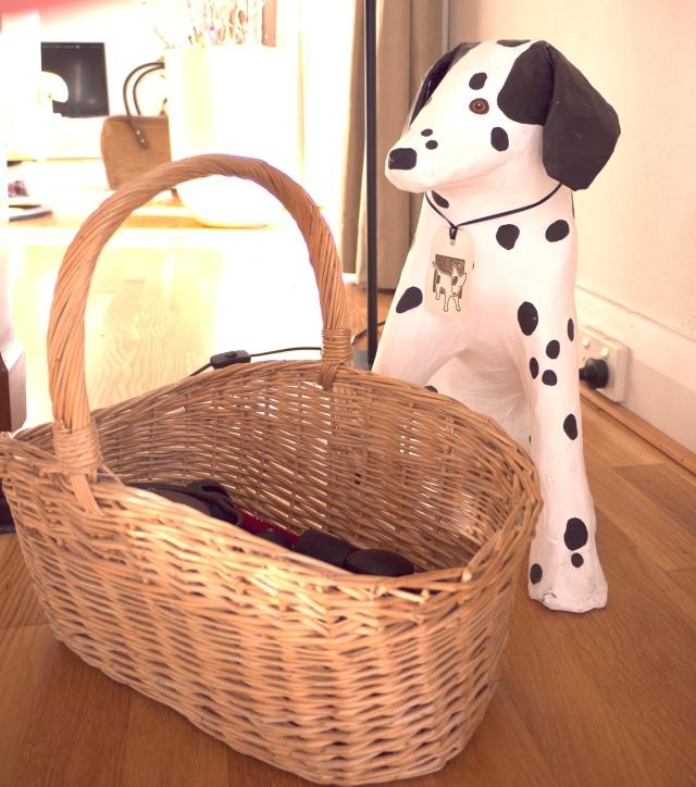 Wicker Basket with Dog