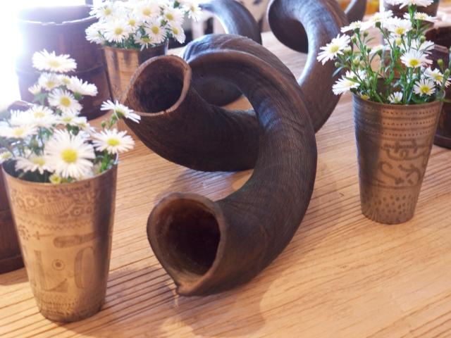 Horns and Flowers in Metal Vase