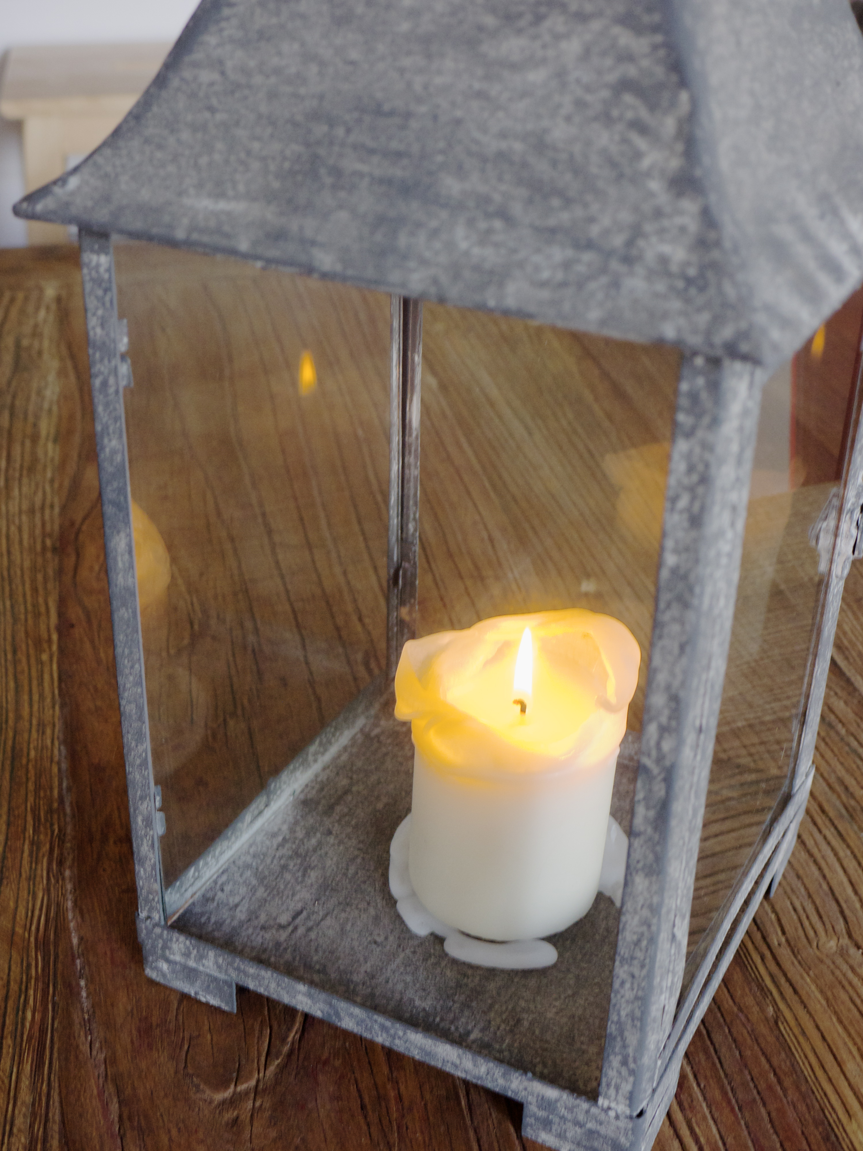 Candle in Industrial Lantern