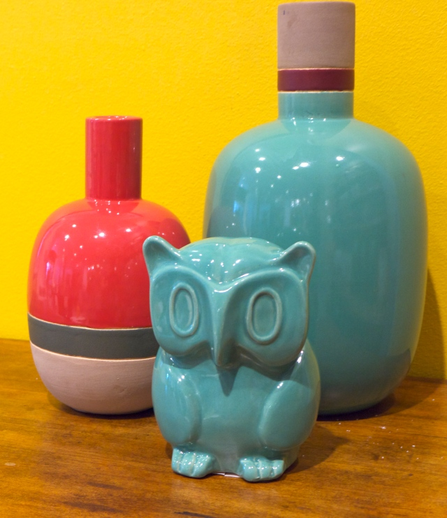 Freedom Furniture Coloured Owl and Vases