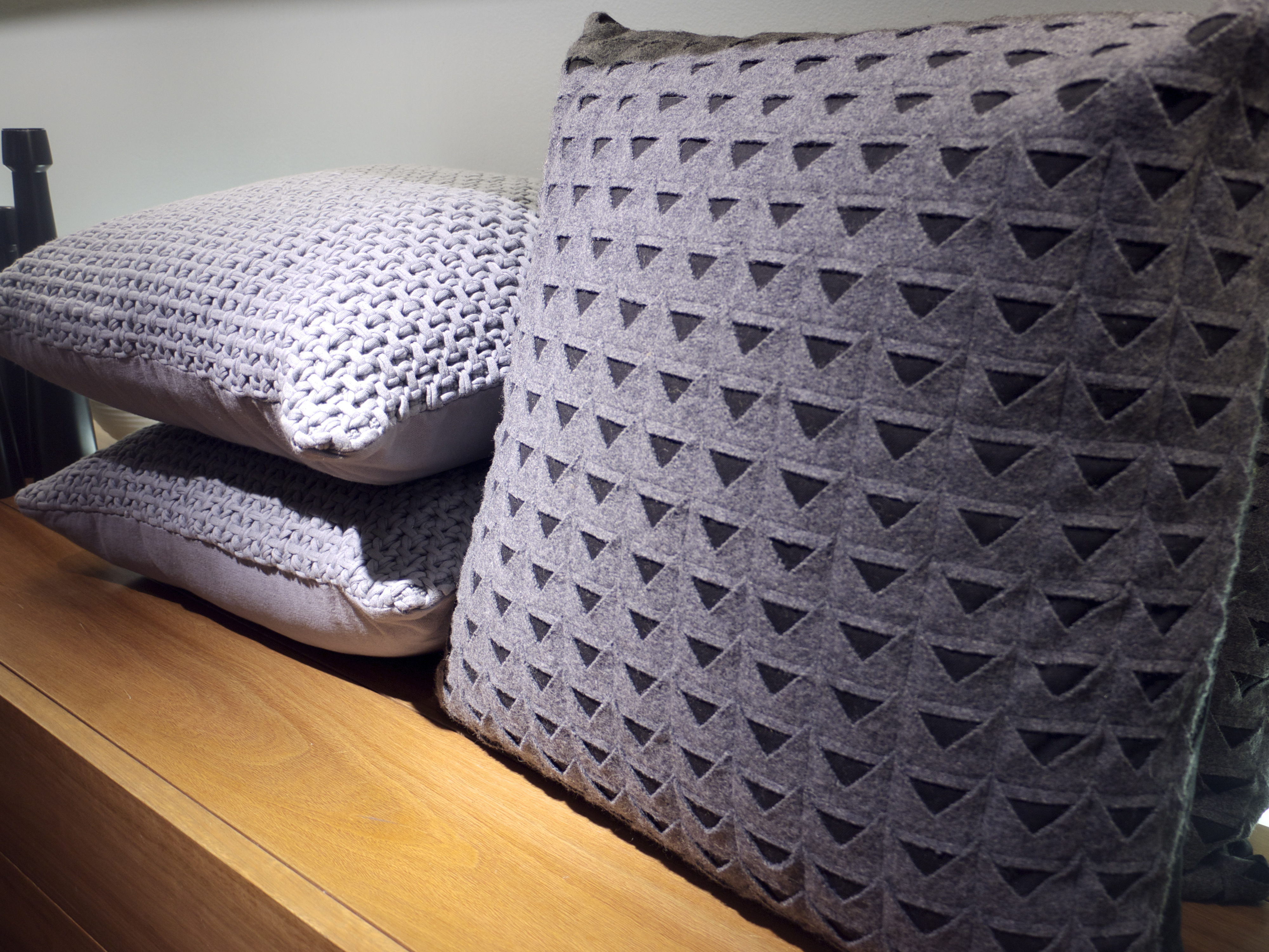 Country Road Grey Triangle and Cable Knit Cushion