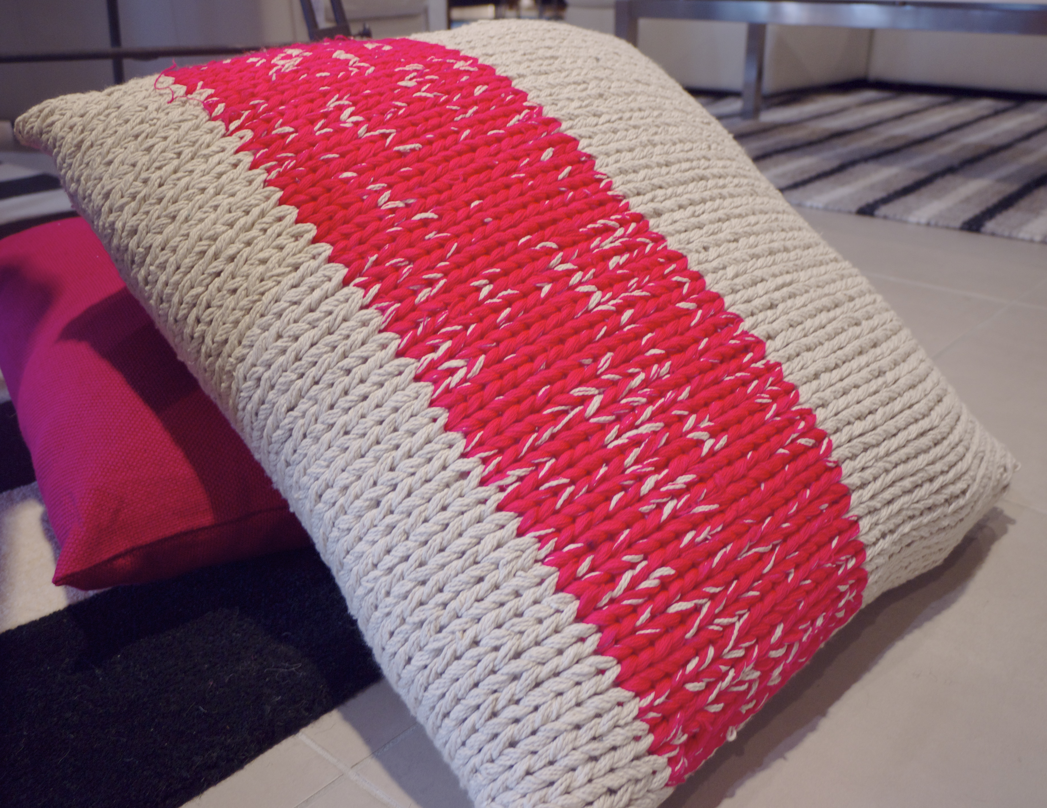 Neon Decor - Cable Knit Cushion from Freedom