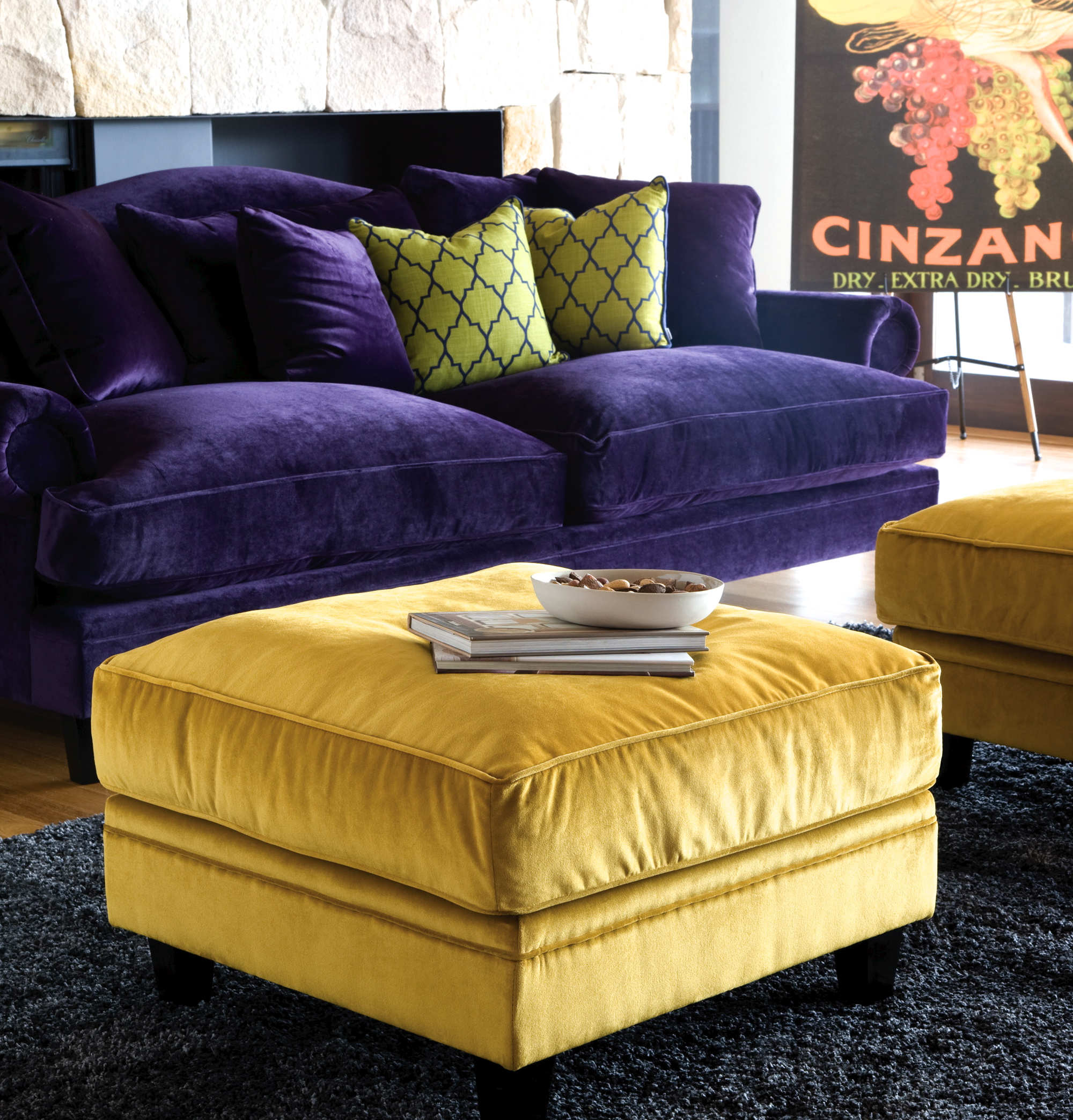 Purple and Yellow Coco Sofa from Oz Design