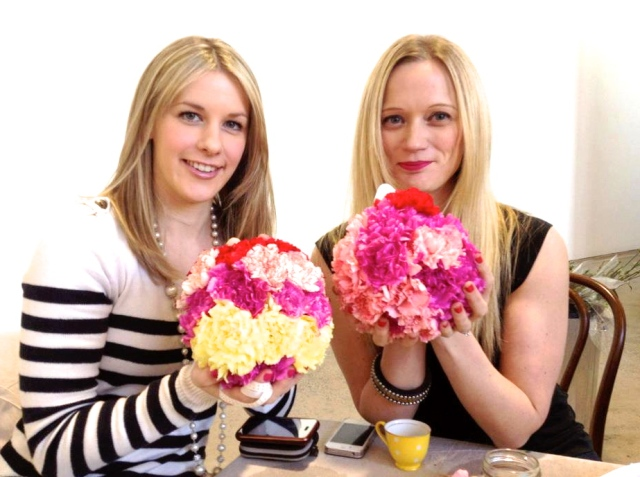 Making flower bombs at Megan Morton's the School with stylist friend Emma Blomfield of Nest Designs