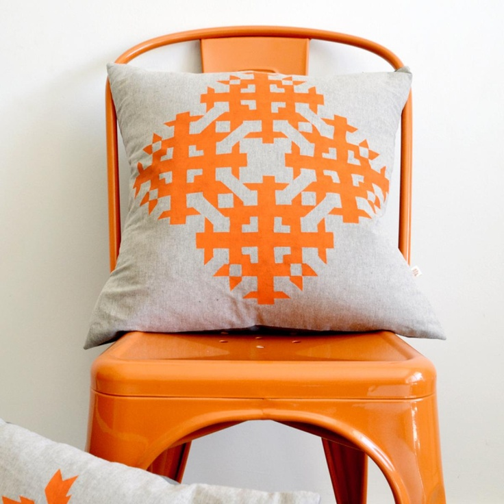 Nookroad Orange Industrial Chair with Cushion