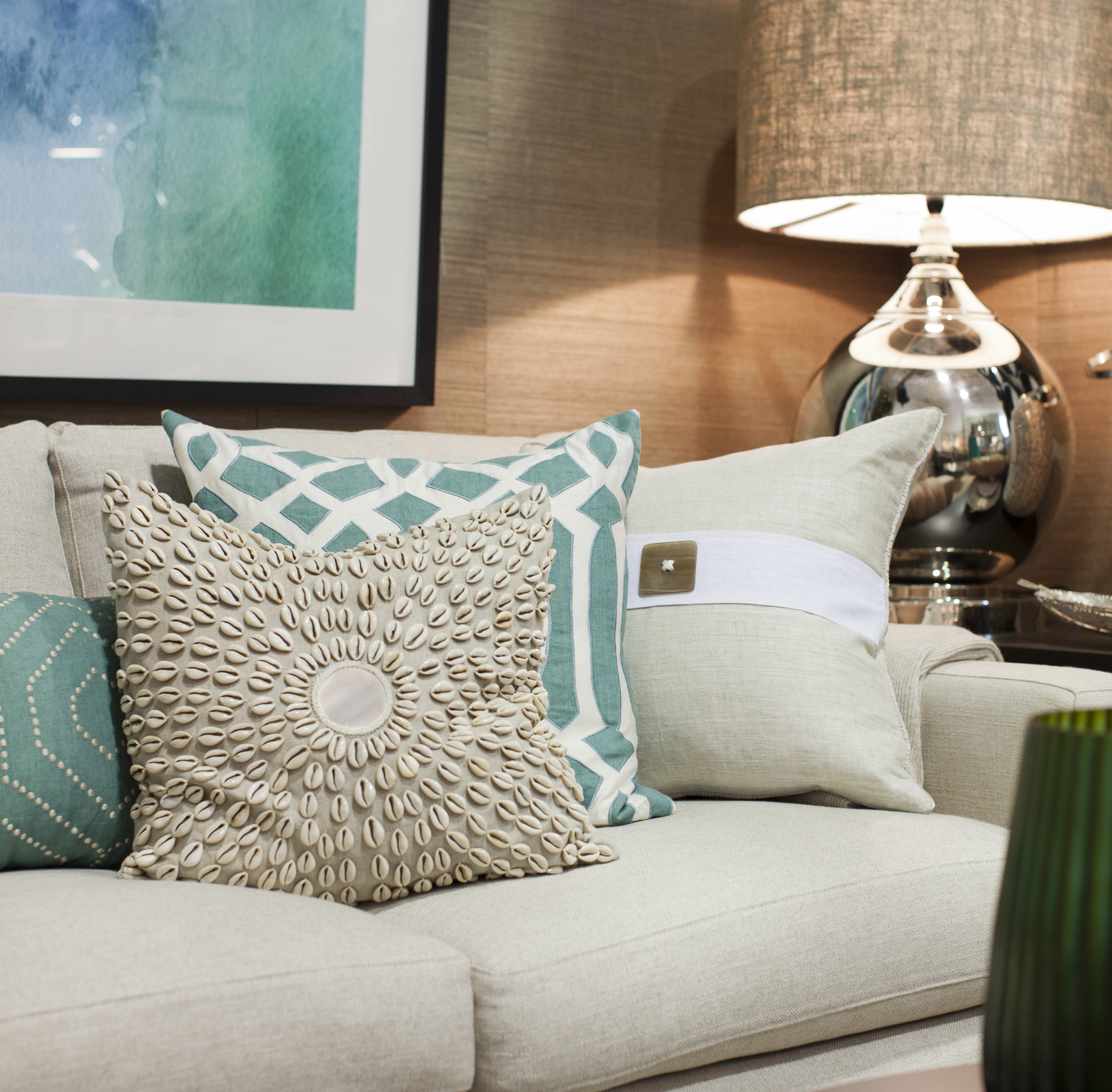 Coastal Decor - Cushions, Couch and Lamp