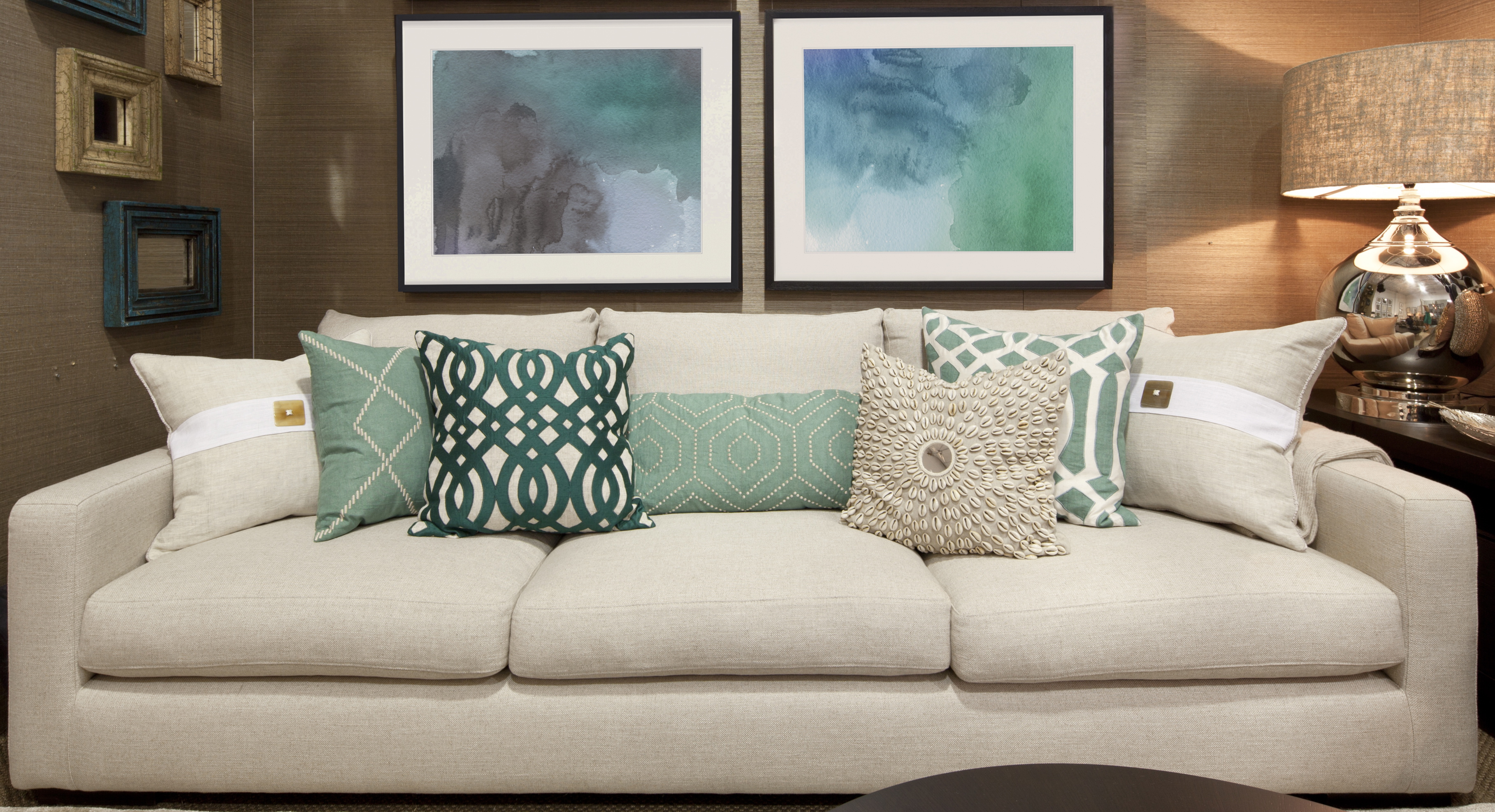 Coastal Decor - Cushions, Couch, Lamp and Art