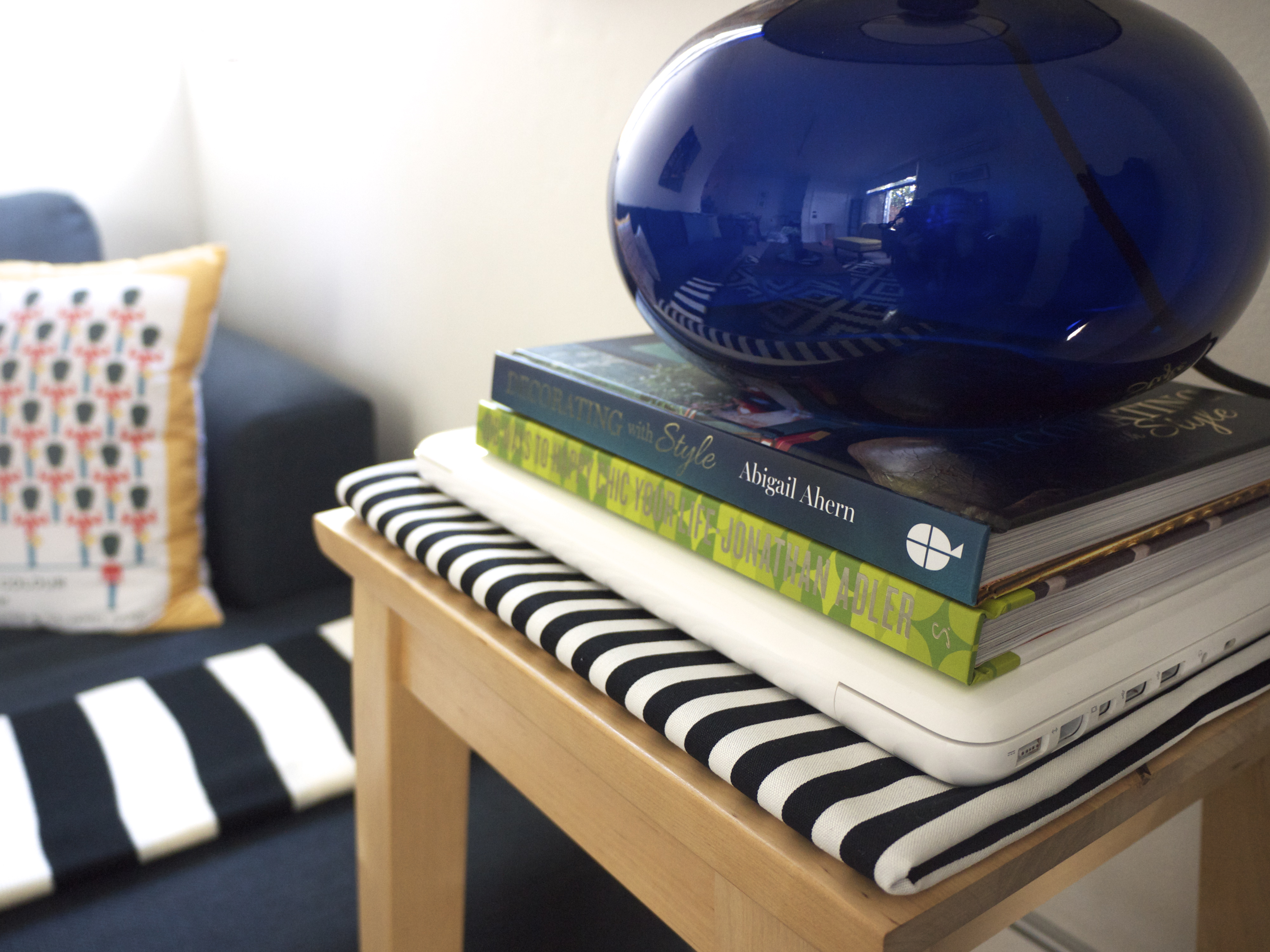 IKEA Winter Living Room Makeover - Books on Stool with Lamp