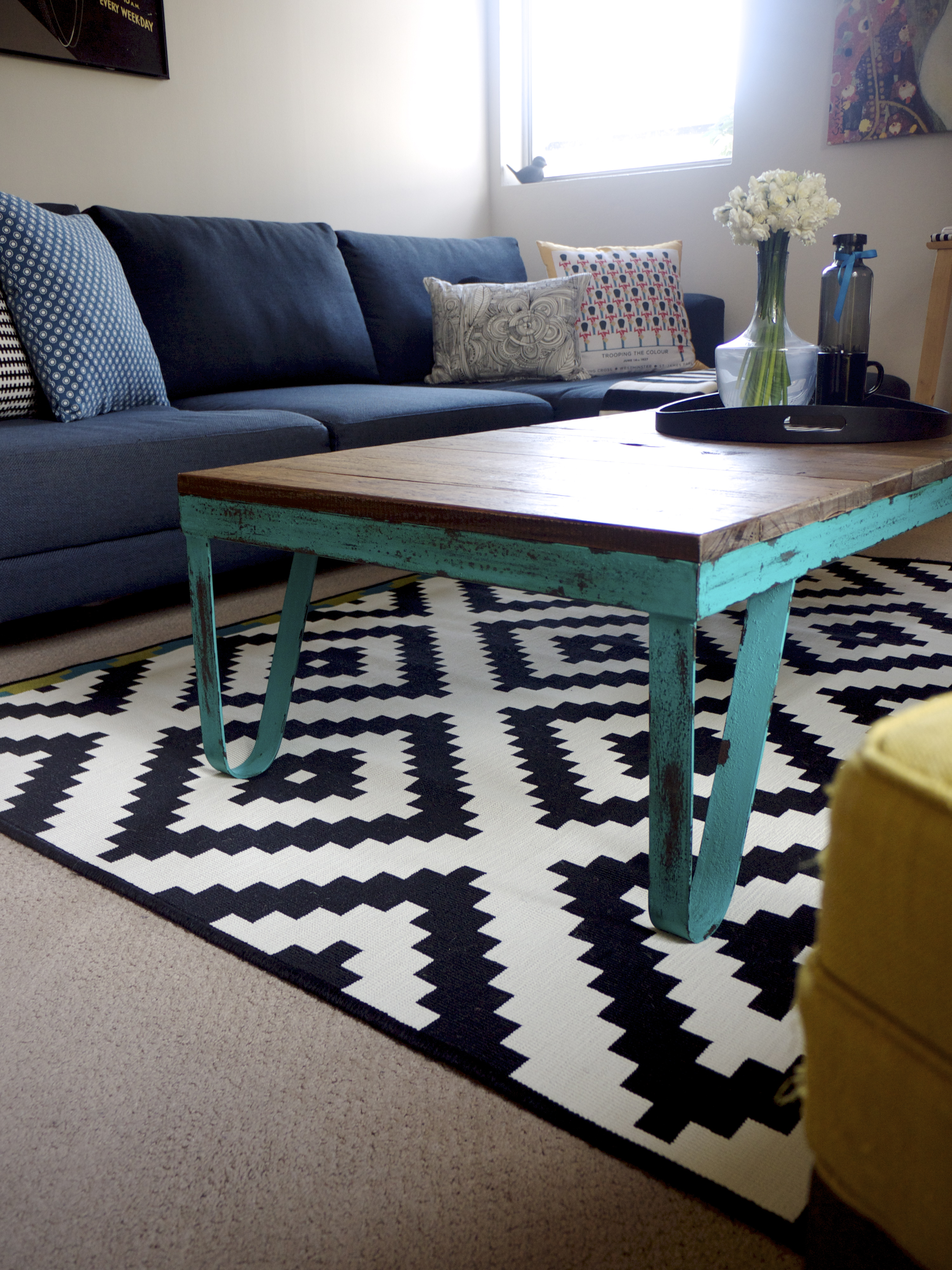 IKEA Winter Living Room Makeover - Industrial Coffee Table and Rug