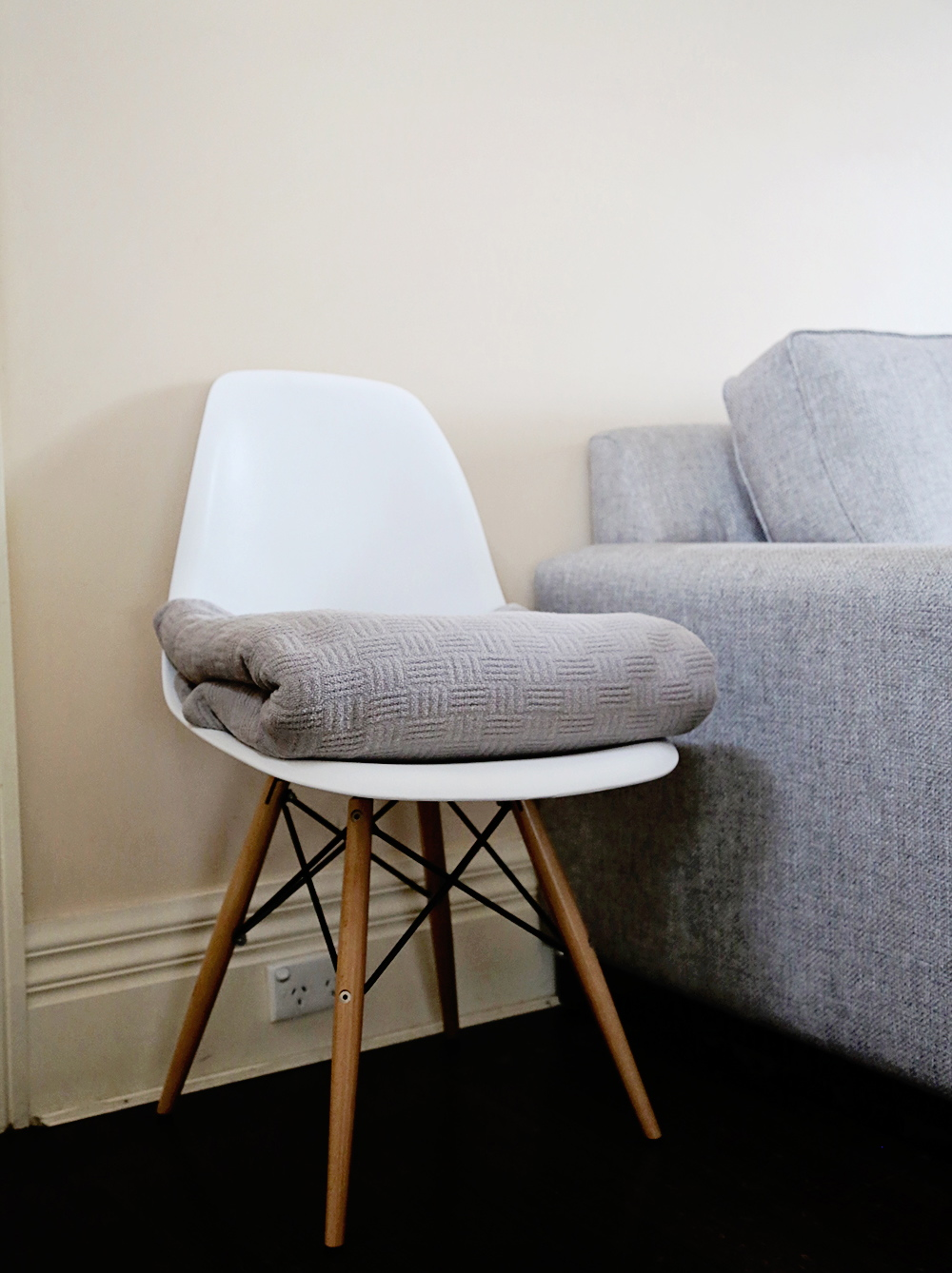 Amber Stapff's Scandi Style Living Room - White Chair and Quilt