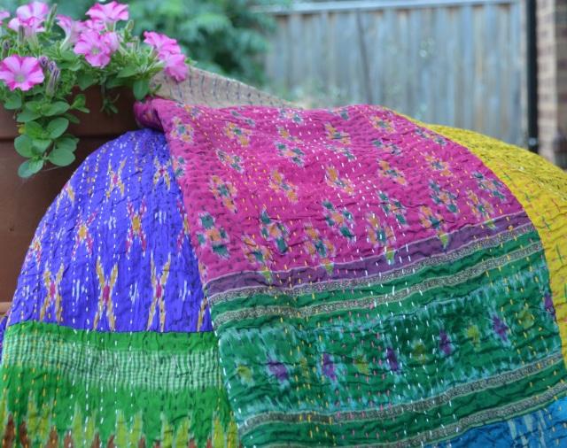 Green Pink Ikat Silk Quilt c