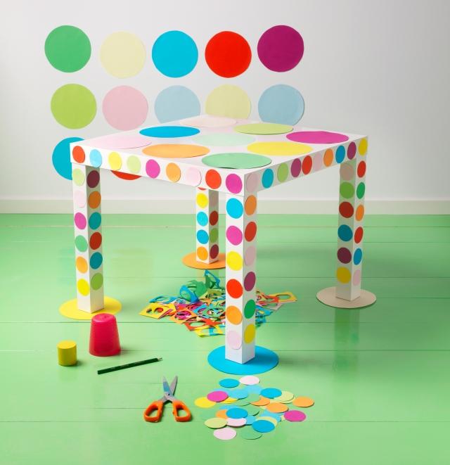 Kids Room Ideas - IKEA LAK table - polka dot crafting
