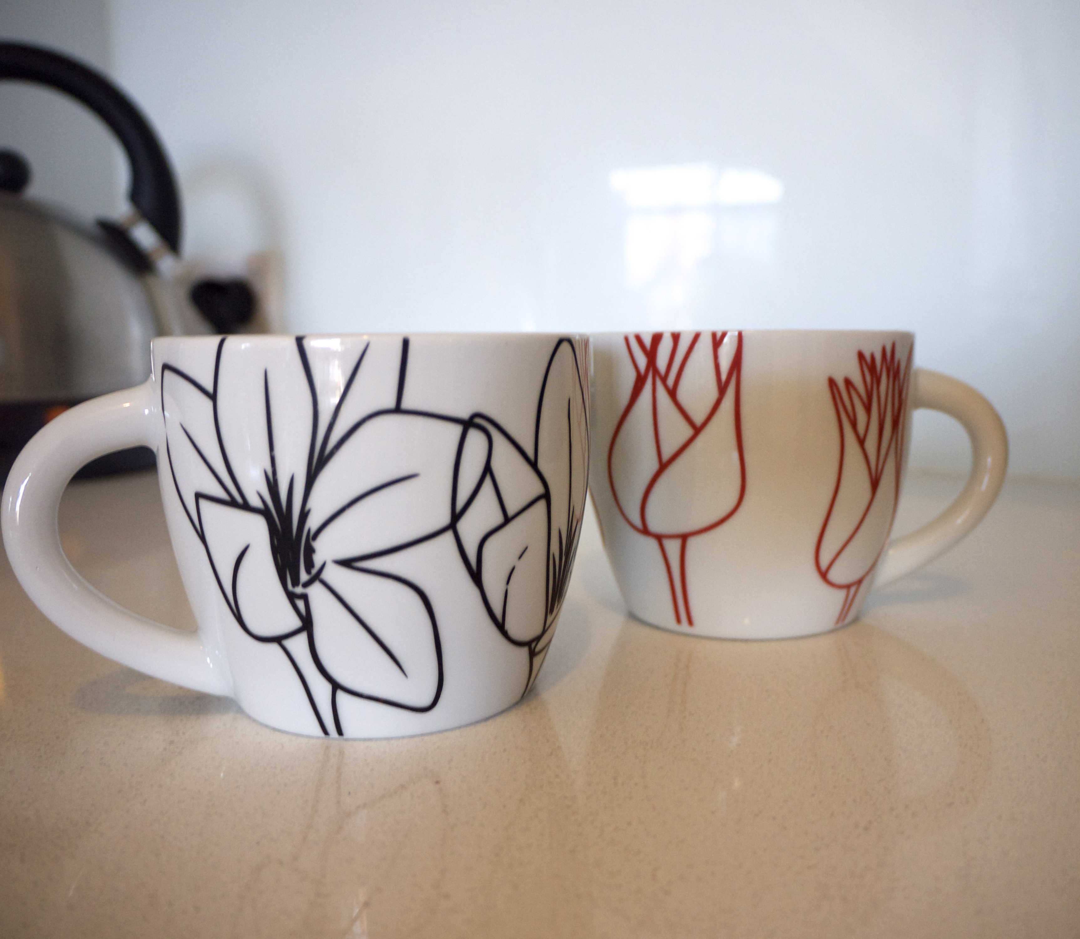 The Life Creative Headquarters - Black and Red Floral Mugs from Target