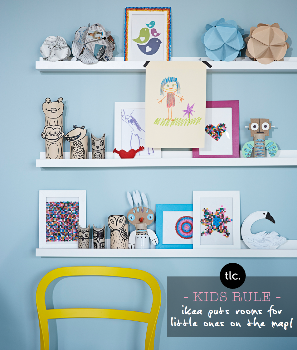 Kids Room Ideas - IKEA shelving and frames