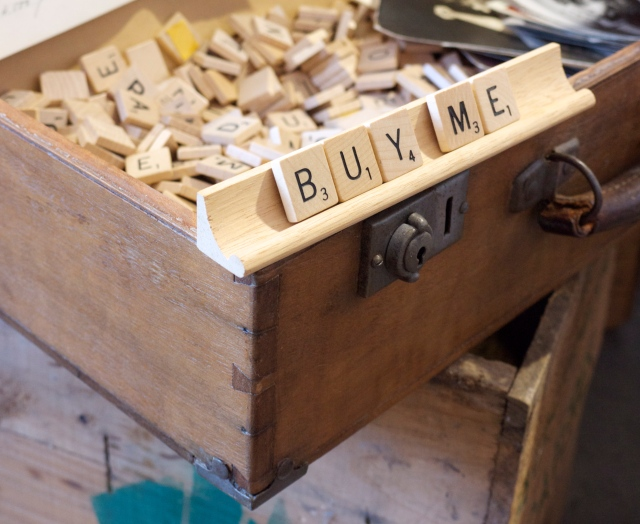 Homewares Purchase - Scrabble Letters in Vintage Suitcase