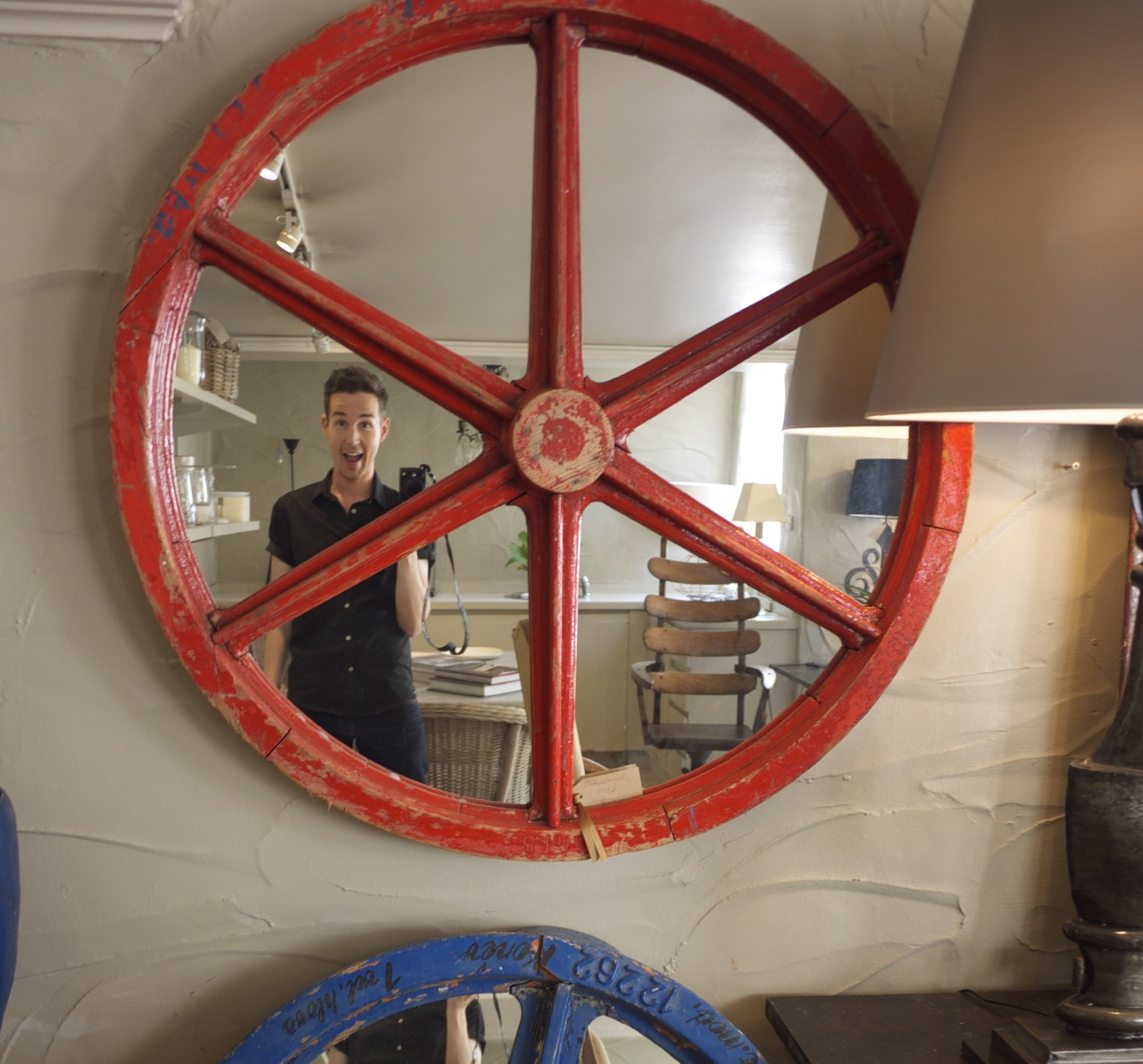 Parterre in Woollahra - Colourful Red Wheel Mirror