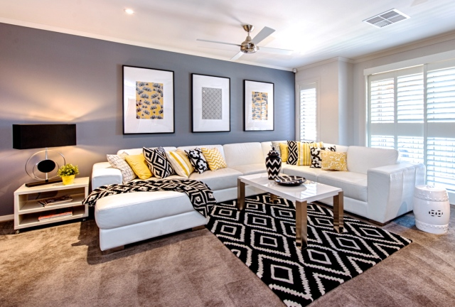 Black, Yellow and White living room