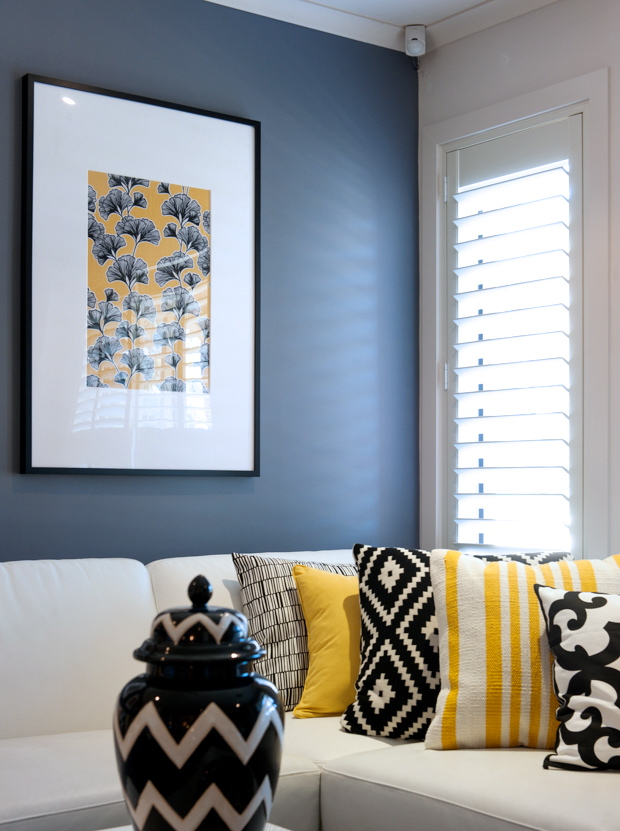 A look at cathy elsmore 39 s black yellow and white living room tlc interiors - Black and yellow living room ...