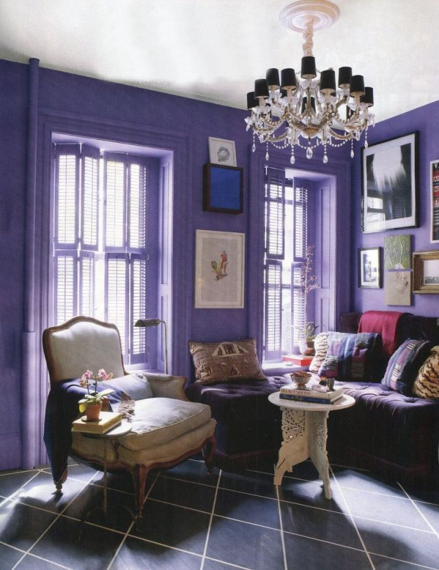 Purple Decor - Purple Room with Chandelier