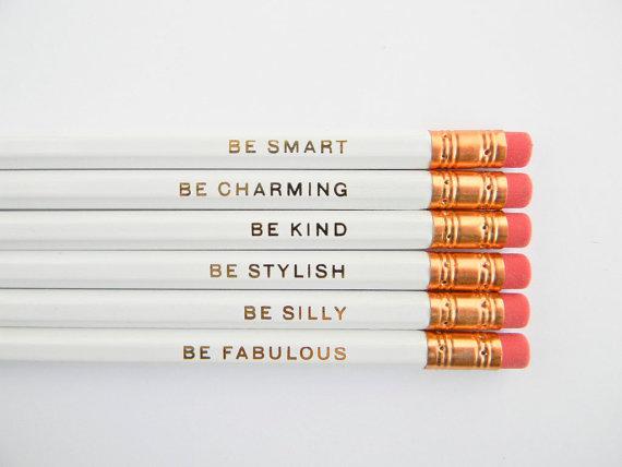 White Homewares - Gentle Reminder Pencils from Amanda Catherine Designs