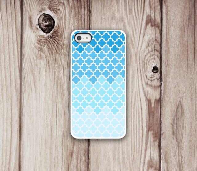 Ombre iPhone Case with Blue to Aqua Pattern