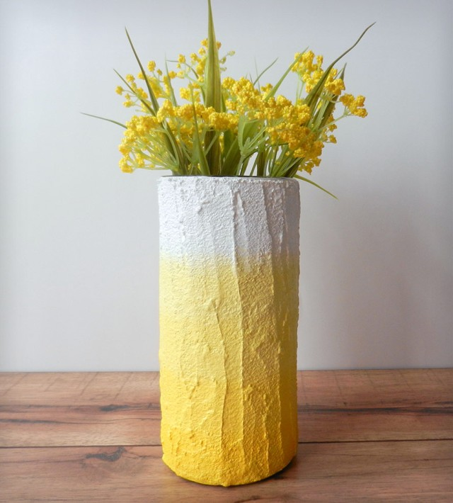 Ombre Vase Vessel - White to Yellow