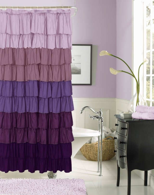 Purple Decor - Purple Bathroom with Ombre Shower Curtain