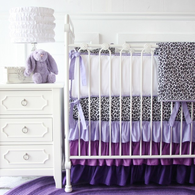 Purple Decor - Purple Baby Room with Animal Print and Cot