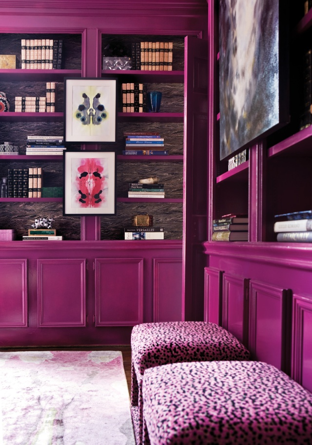 Suzy-q-better-decorating-bible-blog-ideas-library-office-home-purple-violet-walls-lacquered-wood-paneling-vibrant-how-to-get-the-look-paint-walls-complementin-3